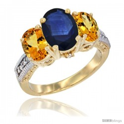 14K Yellow Gold Ladies 3-Stone Oval Natural Blue Sapphire Ring with Citrine Sides Diamond Accent