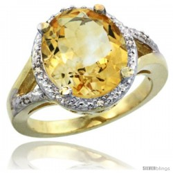 14k Yellow Gold Ladies Natural Citrine Ring oval 12x10 Stone Diamond Accent