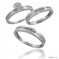 10k White Gold Diamond Trio Engagement Wedding Ring 3-piece Set for Him & Her 4 mm & 3.5 mm wide 0.13 cttw B -Style Ljw019w3