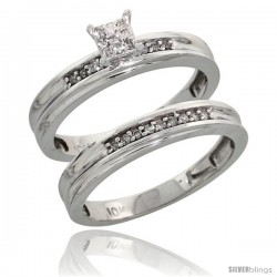 10k White Gold Diamond Engagement Rings Set 2-Piece 0.09 cttw Brilliant Cut, 1/8 in wide -Style Ljw020e2