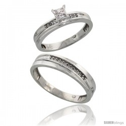 10k White Gold Diamond Engagement Rings 2-Piece Set for Men and Women 0.10 cttw Brilliant Cut, 4 mm & 3.5 m -Style Ljw020em