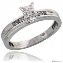 10k White Gold Diamond Engagement Ring 0.06 cttw Brilliant Cut, 1/8in. 3.5mm wide -Style Ljw020er