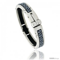 Gent's Stainless Steel / Rubber Bangle Bracelet, w/ Greek key Pattern 5/8 in wide
