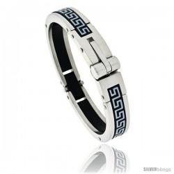 Gent's Stainless Steel / Rubber Bangle Bracelet, w/ Greek key Pattern 5/8 in wide