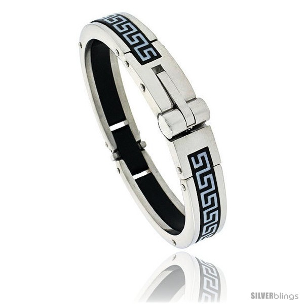 https://www.silverblings.com/450-thickbox_default/gents-stainless-steel-rubber-bangle-bracelet-w-greek-key-pattern-5-8-in-wide.jpg