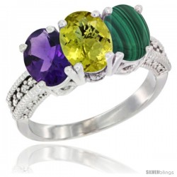 10K White Gold Natural Amethyst, Lemon Quartz & Malachite Ring 3-Stone Oval 7x5 mm Diamond Accent