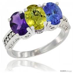 10K White Gold Natural Amethyst, Lemon Quartz & Tanzanite Ring 3-Stone Oval 7x5 mm Diamond Accent