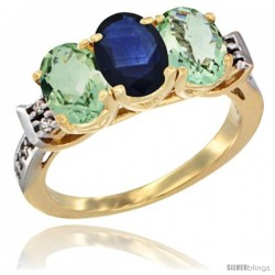 10K Yellow Gold Natural Blue Sapphire & Green Amethyst Sides Ring 3-Stone Oval 7x5 mm Diamond Accent