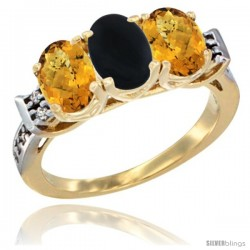 10K Yellow Gold Natural Black Onyx & Whisky Quartz Sides Ring 3-Stone Oval 7x5 mm Diamond Accent
