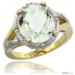 10k Yellow Gold Ladies Natural Green Amethyst Ring oval 12x10 Stone