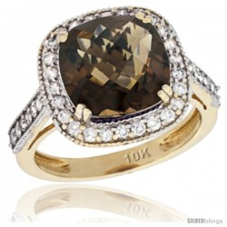 10k Yellow Gold Diamond Halo Smoky Topaz Ring Cushion Shape 10 mm 4.5 ct 1/2 in wide