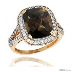 10k Yellow Gold Diamond Halo Smoky Topaz Ring Checkerboard Cushion 12x10 4.8 ct 3/4 in wide