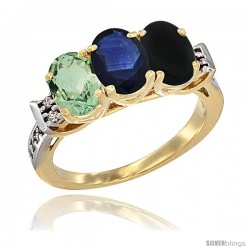 10K Yellow Gold Natural Green Amethyst, Blue Sapphire & Black Onyx Ring 3-Stone Oval 7x5 mm Diamond Accent