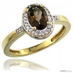 10k Yellow Gold Diamond Smoky Topaz Ring 1 ct 7x5 Stone 1/2 in wide