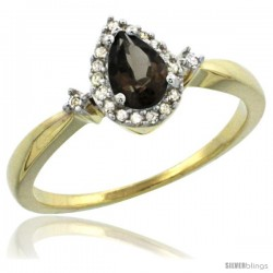 10k Yellow Gold Diamond Smoky Topaz Ring 0.33 ct Tear Drop 6x4 Stone 3/8 in wide