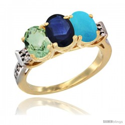 10K Yellow Gold Natural Green Amethyst, Blue Sapphire & Turquoise Ring 3-Stone Oval 7x5 mm Diamond Accent