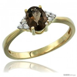 10k Yellow Gold Ladies Natural Smoky Topaz Ring oval 7x5 Stone