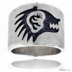 Sterling Silver Native American Design Man & Bear Ring