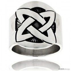 Sterling Silver Quaternary Celtic Knot Cigar Band Ring