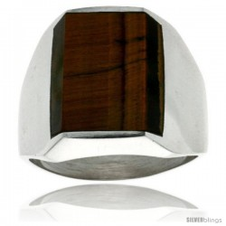 Gent's Sterling Silver Rectangular Tiger Eye Ring