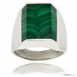 Gent's Sterling Silver Rectangular Malachite Ring