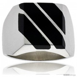 Gent's Sterling Silver Triple Diagonal Black Obsidian Ring