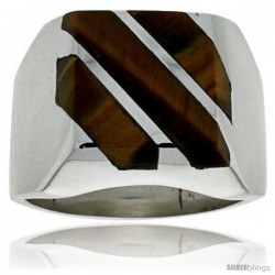 Gent's Sterling Silver Triple Diagonal Tiger Eye Ring