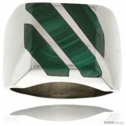 Gent's Sterling Silver Triple Diagonal Malachite Ring
