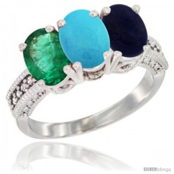 14K White Gold Natural Emerald, Turquoise & Lapis Ring 3-Stone 7x5 mm Oval Diamond Accent
