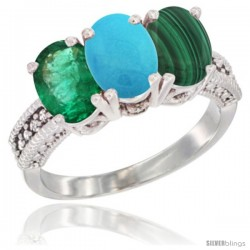 14K White Gold Natural Emerald, Turquoise & Malachite Ring 3-Stone 7x5 mm Oval Diamond Accent