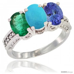 14K White Gold Natural Emerald, Turquoise & Tanzanite Ring 3-Stone 7x5 mm Oval Diamond Accent