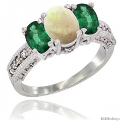 14k White Gold Ladies Oval Natural Opal 3-Stone Ring with Emerald Sides Diamond Accent