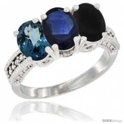 14K White Gold Natural London Blue Topaz, Blue Sapphire & Black Onyx Ring 3-Stone 7x5 mm Oval Diamond Accent