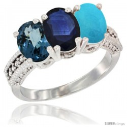 14K White Gold Natural London Blue Topaz, Blue Sapphire & Turquoise Ring 3-Stone 7x5 mm Oval Diamond Accent
