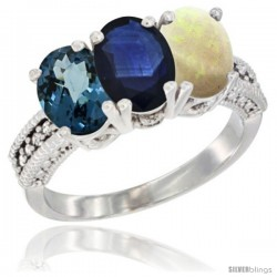 14K White Gold Natural London Blue Topaz, Blue Sapphire & Opal Ring 3-Stone 7x5 mm Oval Diamond Accent