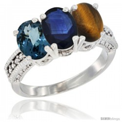 14K White Gold Natural London Blue Topaz, Blue Sapphire & Tiger Eye Ring 3-Stone 7x5 mm Oval Diamond Accent