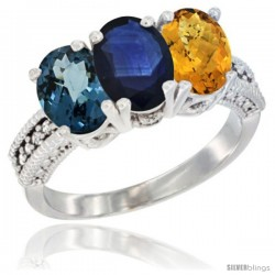 14K White Gold Natural London Blue Topaz, Blue Sapphire & Whisky Quartz Ring 3-Stone 7x5 mm Oval Diamond Accent