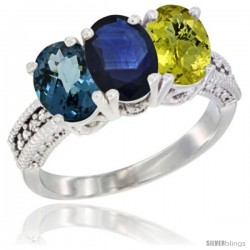 14K White Gold Natural London Blue Topaz, Blue Sapphire & Lemon Quartz Ring 3-Stone 7x5 mm Oval Diamond Accent