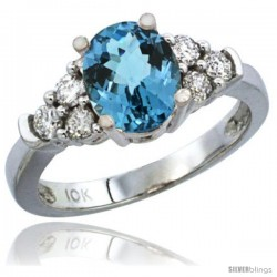 14k White Gold Ladies Natural London Blue Topaz Ring oval 9x7 Stone Diamond Accent