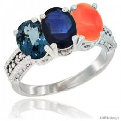 14K White Gold Natural London Blue Topaz, Blue Sapphire & Coral Ring 3-Stone 7x5 mm Oval Diamond Accent