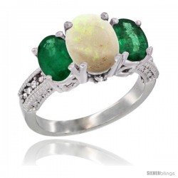 14K White Gold Ladies 3-Stone Oval Natural Opal Ring with Emerald Sides Diamond Accent