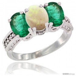 14K White Gold Natural Opal & Emerald Sides Ring 3-Stone 7x5 mm Oval Diamond Accent