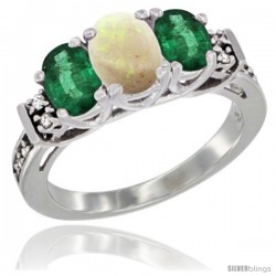 14K White Gold Natural Opal & Emerald Ring 3-Stone Oval with Diamond Accent