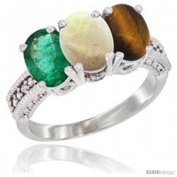 14K White Gold Natural Emerald, Opal & Tiger Eye Ring 3-Stone 7x5 mm Oval Diamond Accent