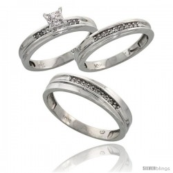 10k White Gold Diamond Trio Engagement Wedding Ring 3-piece Set for Him & Her 5 mm & 3.5 mm wide 0.13 cttw B -Style Ljw020w3