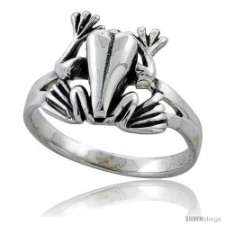 Sterling Silver Movable Frog Ring 1/2 in wide