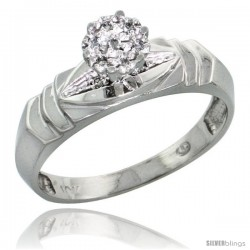 10k White Gold Diamond Engagement Ring 0.04 cttw Brilliant Cut, 3/16 in wide -Style Ljw021er