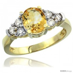 14k Yellow Gold Ladies Natural Citrine Ring oval 9x7 Stone Diamond Accent