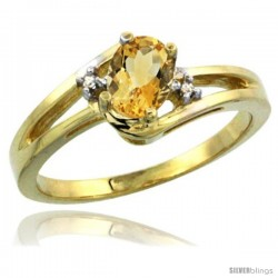 14k Yellow Gold Ladies Natural Citrine Ring oval 6x4 Stone Diamond Accent -Style Cy409165
