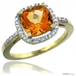 14k Yellow Gold Ladies Natural Citrine Ring Cushion-cut 3.8 ct. 8x8 Stone Diamond Accent